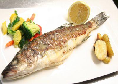 Köstliches Fischgericht des Restaurants Forsthaus am See